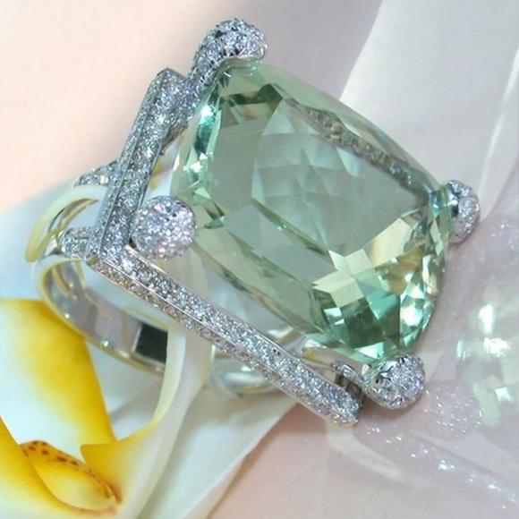 Jewelry - The Natural Prehnite & White Topaz Ring